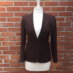{Oscar de la Renta} Brown Wool Fitted Jacket